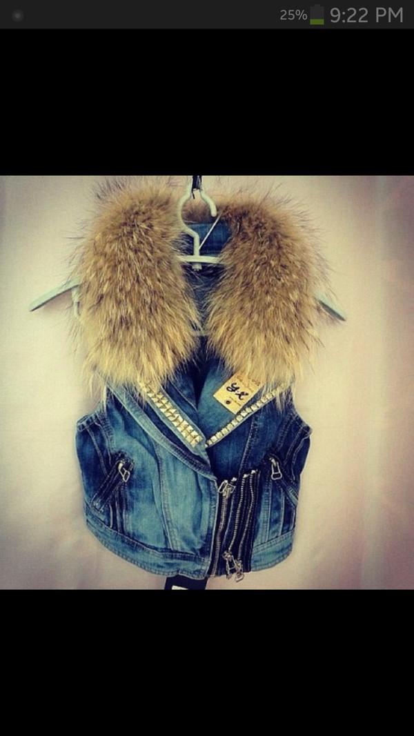 jacket fur vest jeans studs