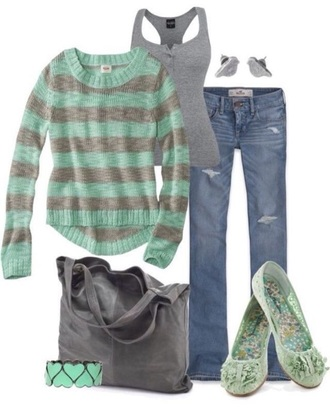 sweater light teal striped sweater back to school