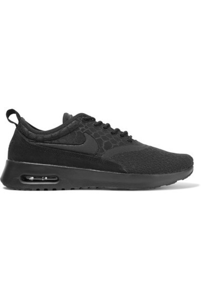 ce216caa822a Nike Nike - Air Max Thea Suede-trimmed Textured-knit Sneakers - Black