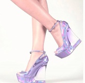 shoes,wedges,holographic shoes,purple shoes,peep toe pumps