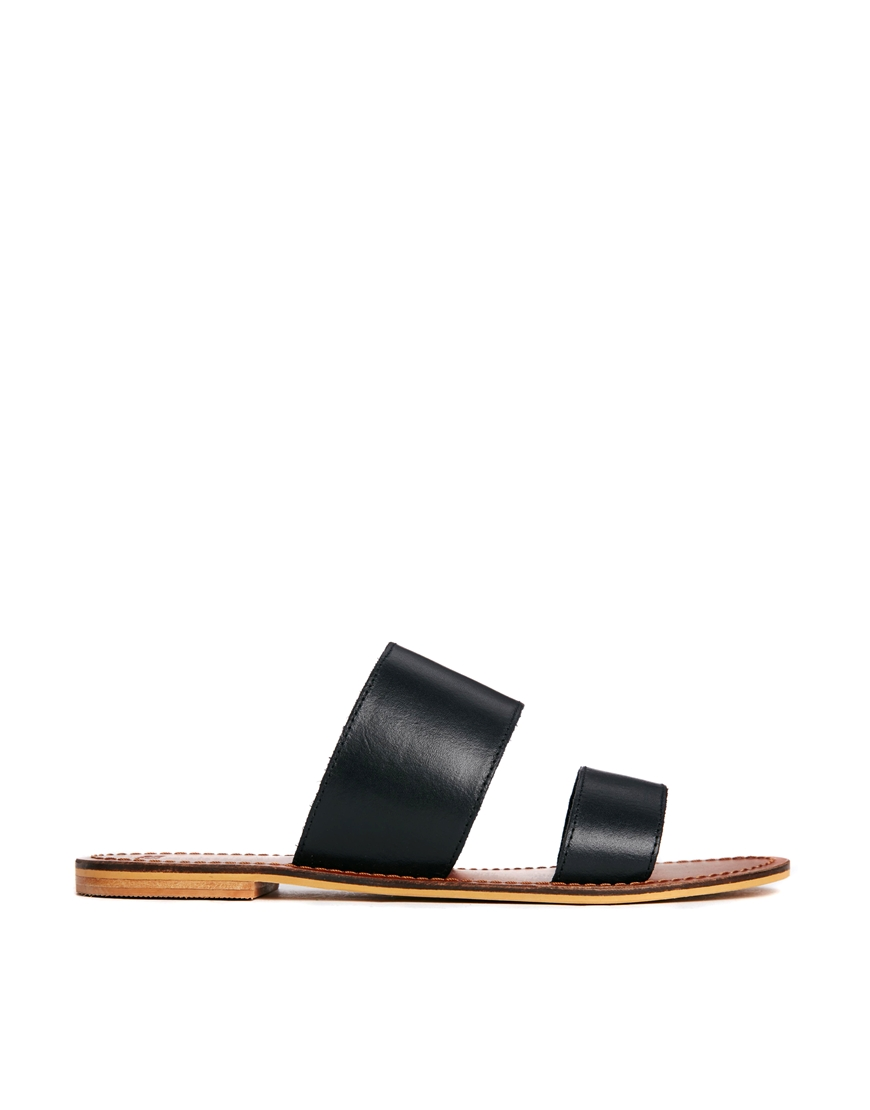ASOS FEDERAL Leather Sliders at asos.com