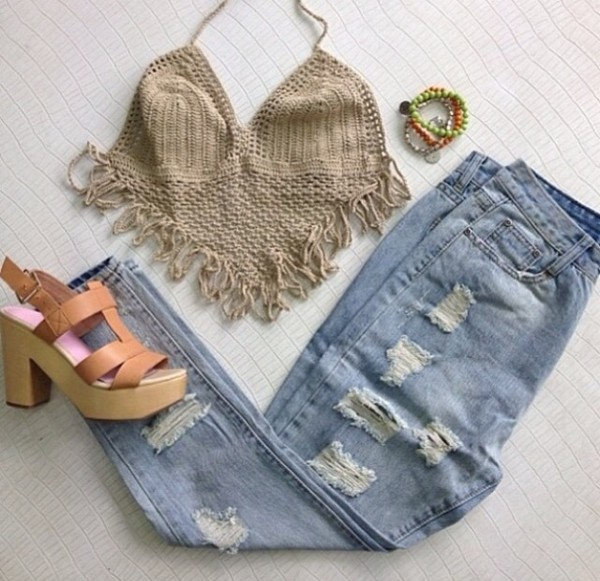 tank top shoes jeans