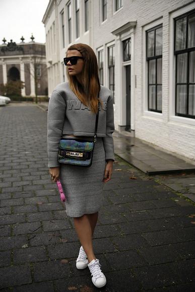 fashion zen blog blogger bag sunglasses grey knitwear