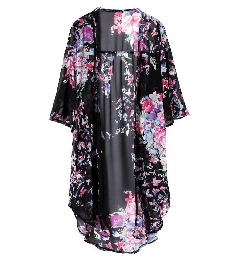 Floral Print Longline Kimono