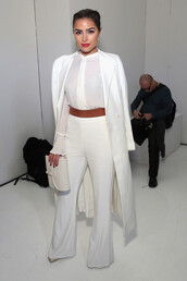 blouse,white,coat,pants,olivia culpo,belt,purse,fashion week 2016,NY Fashion Week 2016,all white everything,rachel zoe
