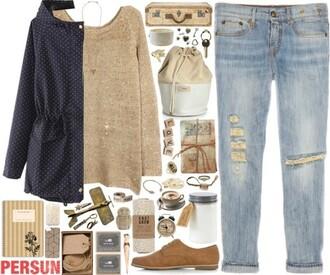 jacket vintage blue dark blue sweater jeans beige shoes oxfords indie dark blue jacket