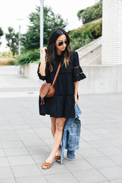 dress,tumblr,black dress,mini dress,bag,crossbody bag,brown bag,shoes,mules,jacket,sunglasses