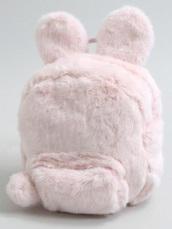 bag,pink fur,backpack,bunny,bunny ears backpack,kawaii,baby pink bag,pastel pink,pink bag,pink