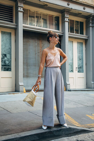 top tumblr camisole pink top pants blue pants wide-leg pants bag handbag shoes