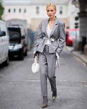 pants,grey pants,high heels boots,blazer,white shirt,bag