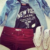 t-shirt,short,converse,jacket,shirt,shoes,new york city,red,blue,white,them,shorts