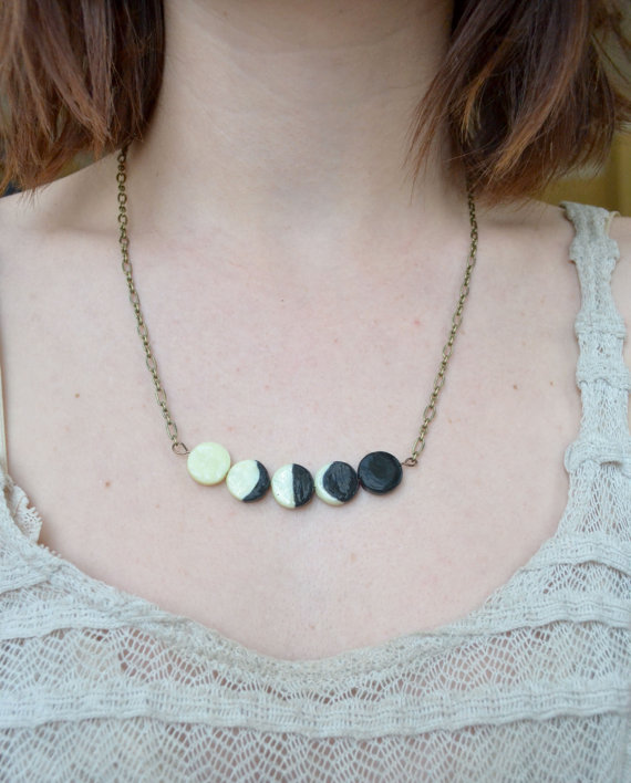 Moon Phase Necklace Glow In The Dark Made to order by LunaMothShop