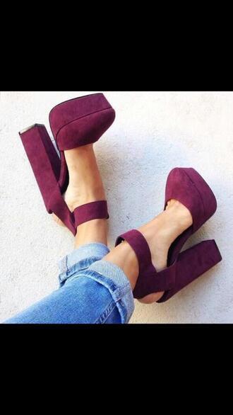 shoes burgundy dark red high heels suede