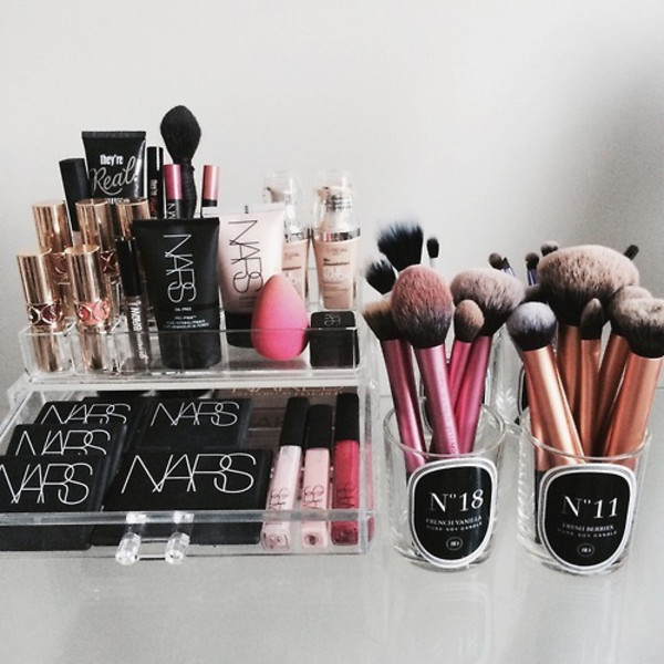 make-up makeup brushes nars cosmetics home accessory beauty organizer beauty blender lipstick nars cosmetics ysl foundation