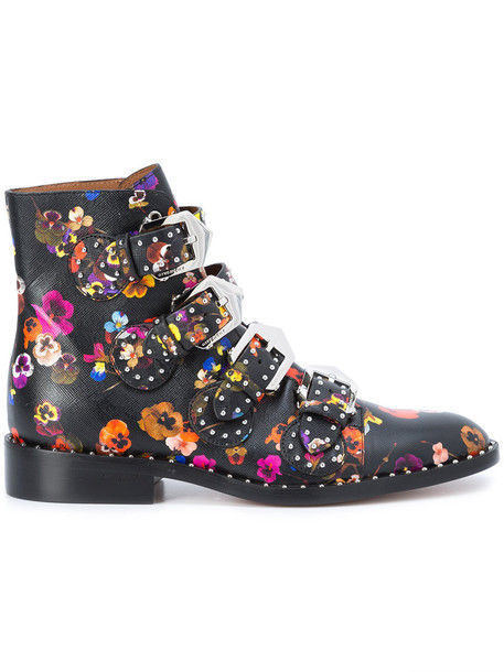 women ankle boots floral leather print black shoes