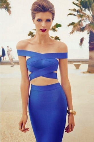 dress chic girly wots-hot-right-now bandage dress blue blue dress two piece dress set two-piece party dress cocktail dress date dress
