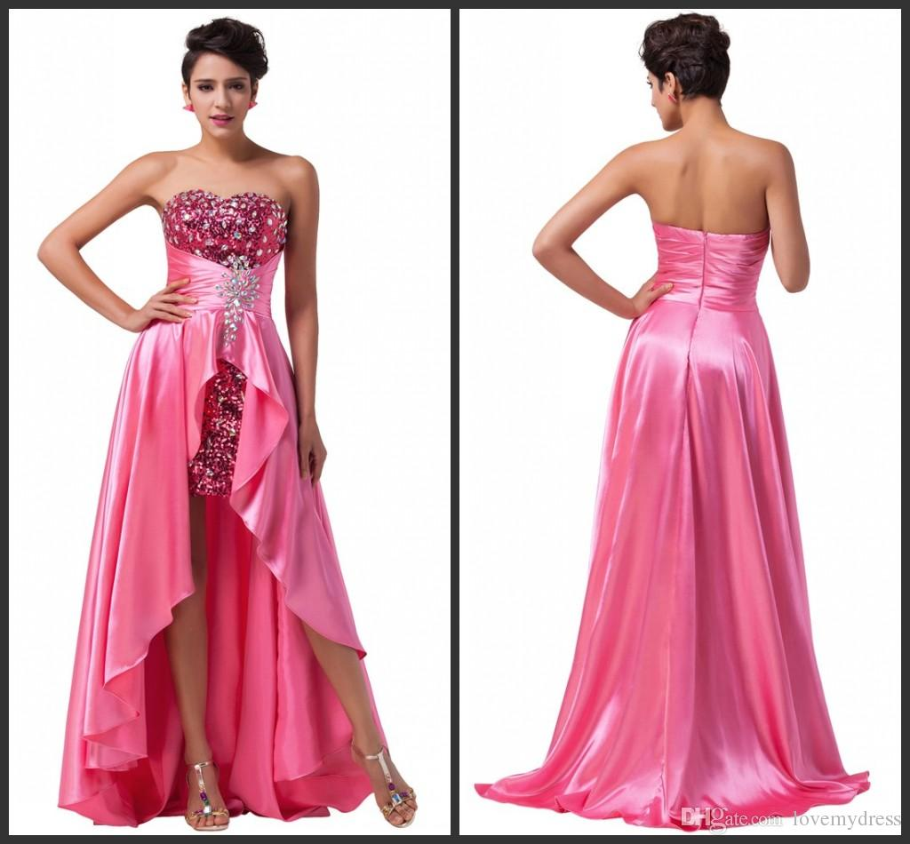 High Low Prom Dresses Zipper Back Sweetheart Neck Crystals ...