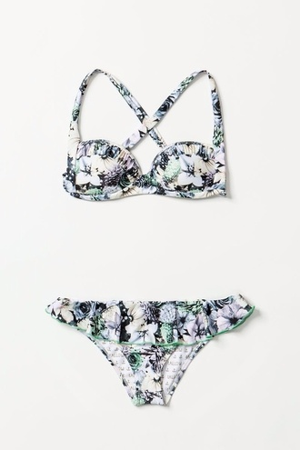 swimwear flower print cute bikini bikini