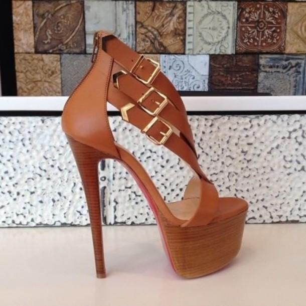 shoes heels 6 inch high heels brown high heels platform shoes platform high  heels brown sandals
