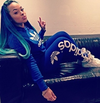adidas sweater jeans heather sanders tracksuit joggers black girls killin it white sneakers blue pants blue sweater adidas sweater adidas sweats adidas shoes adidas originals blue jumpsuit blue adidas jumpsuit adidas jacket tights electric blue