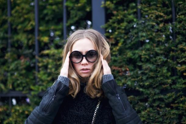 vasilieva blogger shearling jacket round sunglasses coat sweater