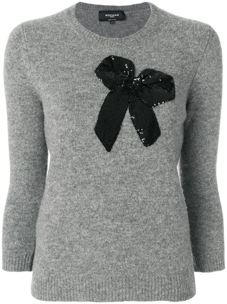 Rochas sweater bow embroidered women wool grey