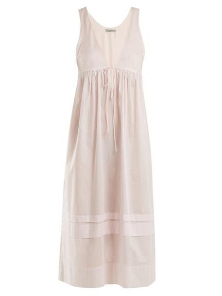 Three Graces London - Lindera V Neck Pleated Cotton Nightdress - Womens - Light Pink