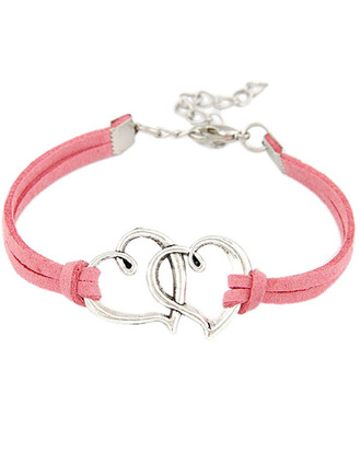 jewels pink best friends bracelet double heart bracelet young and forever crazeemania pink bracelet leather bracelet love love bracelet