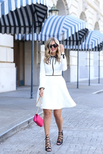 suburban faux-pas blogger dress bag sunglasses shoes jewels white dress mini dress pink bag mini bag lace up heels black heels