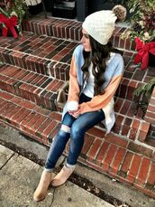 mrscasual,blogger,cardigan,t-shirt,hat,jeans,shoes,beanie,ankle boots,winter outfits