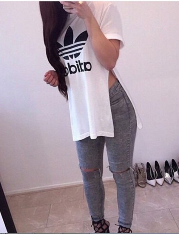 Adidas print Double slit shirt | Appealing Fashion