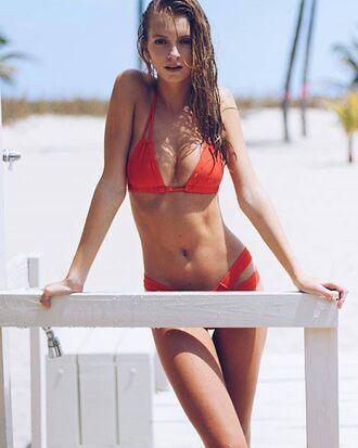swimwear red bikini triangle cheeky summer ootd