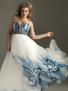 Night Moves Dresses - Night Moves 6371W Printed Plus Size Prom Dress