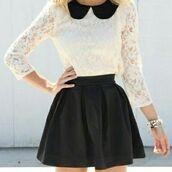 top,black collar,lace,collared shirts,black skirt
