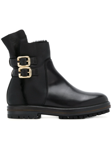 AGL women leather black shoes