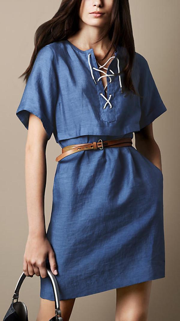 dress blue blend dress blue dress tie-front linen blend dress