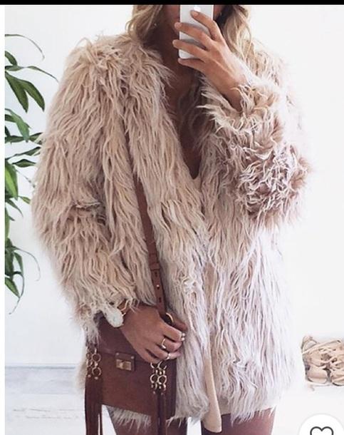 coat beige shag long