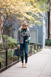 bows&sequins,blogger,jacket,sweater,jeans,scarf,bag,shoes,sunglasses,fall outfits,skinny jeans,handbag,grey jacket,pumps