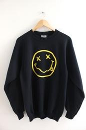sweater,nirvana,black sweater,nirvana sweater