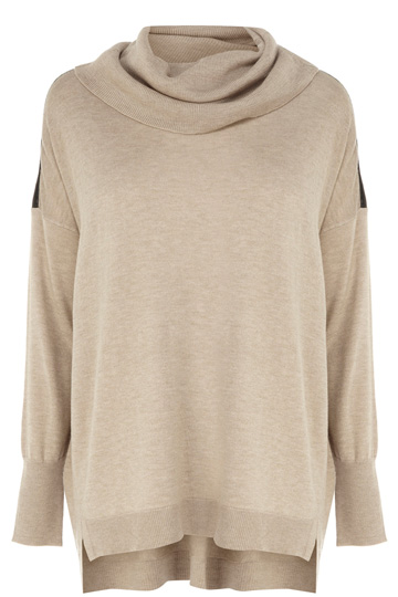 Faux Leather Trim Cowl Neck Top | Natural | Oasis Stores