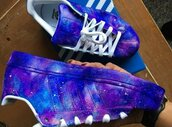 shoes,sneakers,adidas,galaxy print,universe,blue,custom,sneakerlife,custom adidas