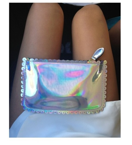 Bag: purses holographic silver holographic purse zip georgeous instagram