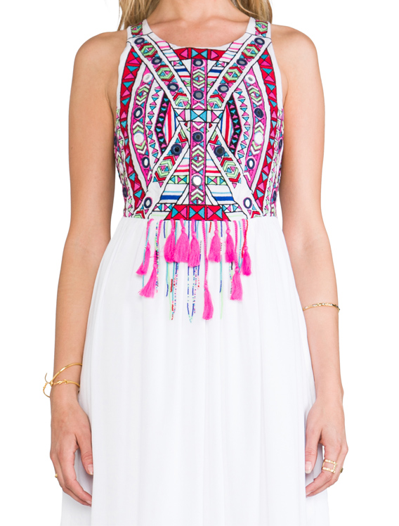 Mara Hoffman Mirror Embroidery Maxi Dress in White | REVOLVE