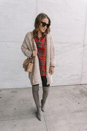 twenties girl style,blogger,shirt,cardigan,leggings,shoes,bag,sweater,hat,scarf,winter outfits,thigh high boots,plaid shirt