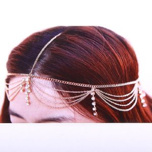 Amazon.com: goldtone head chain with rhinestone head chain headband (s fh1058