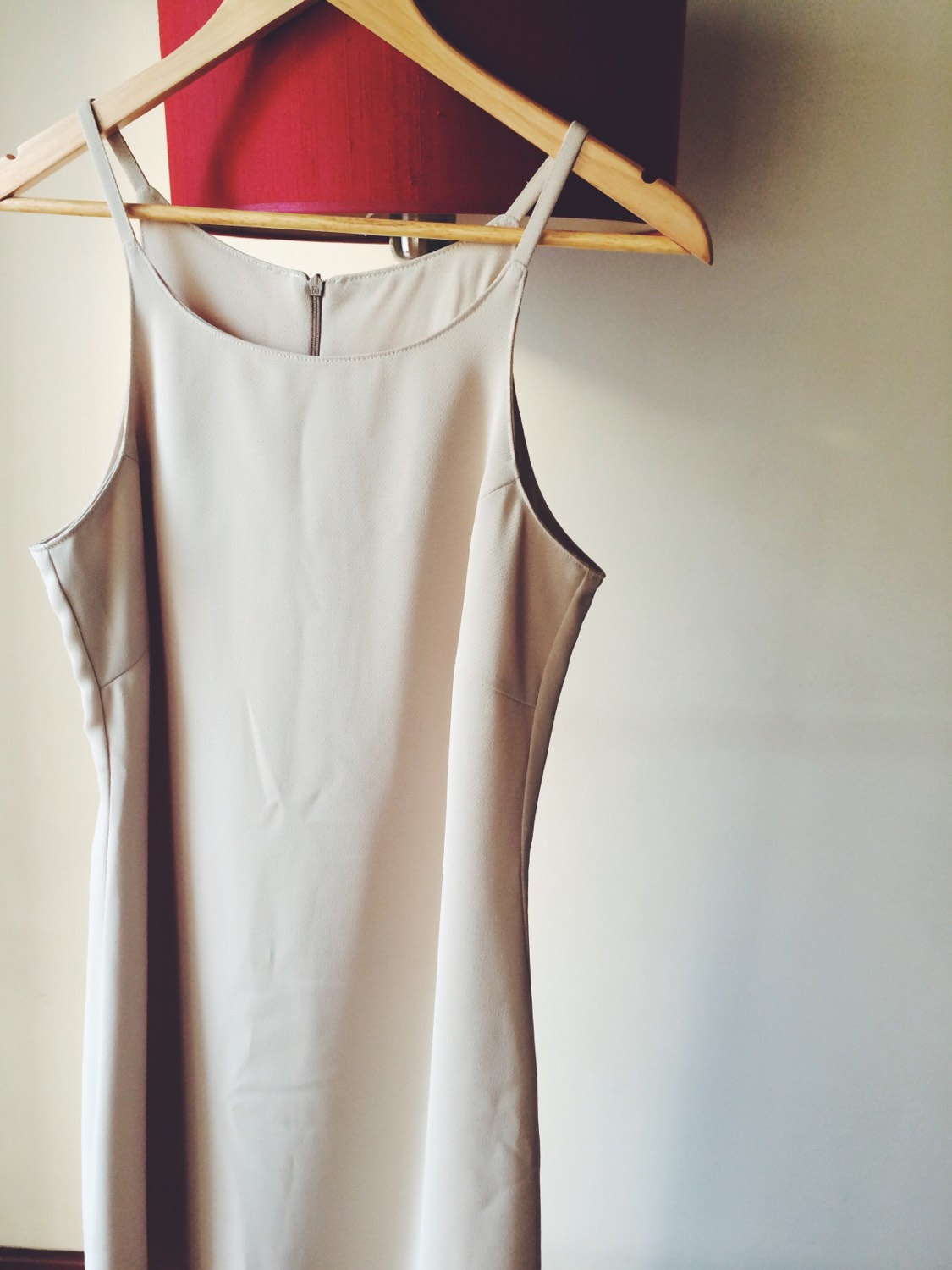 Women ivory dress, knee lenght dress, strappy dress, vintage dress size large/ european large
