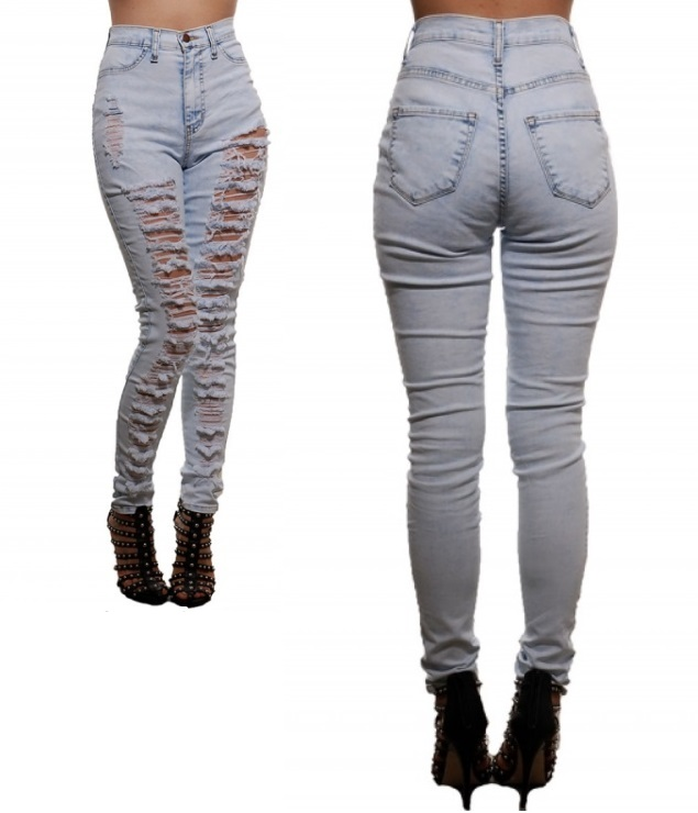 Waist Light Wash Ripped Acid Jeans / Xclusively Chic Boutique