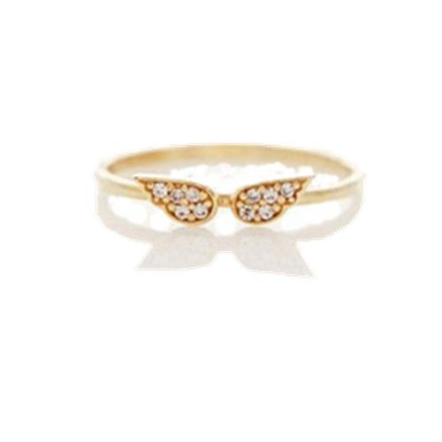 2013 New Femal Gold Alloy Angel Wings Shield Ring - DualShine