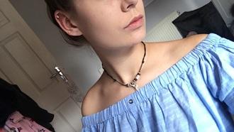 shirt blue off the shoulder top