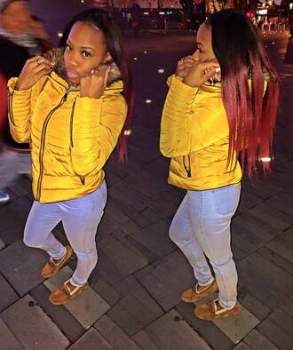 coat fur fur coat coats with faux fur lining yellow yellow coat bubble coat rihanna kylie jenner pretty jacket